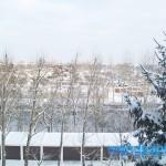 Tagsüber im verschneiten Leipzig