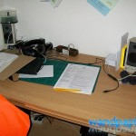 unaufgeräumter Schreibtisch